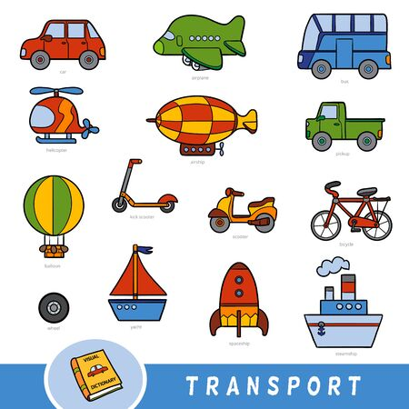 Colour transport set, collection of vector items with names in English. Cartoon visual dictionary for children