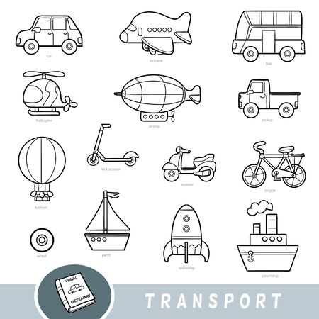Black and white transport set, collection of vector items with names in English. Cartoon visual dictionary for children