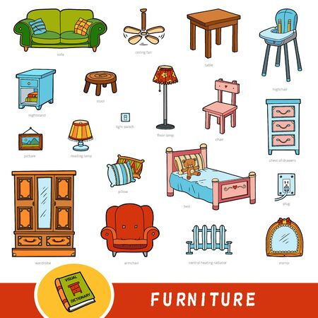Color furniture set, collection of vector items with names in English. Cartoon visual dictionary for kids
