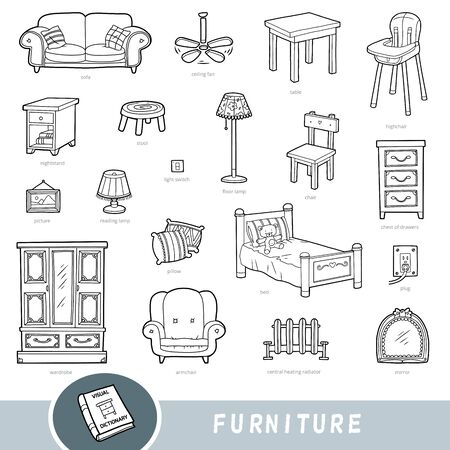 Black and white furniture set, collection of vector items with names in English. Cartoon visual dictionary for kids Ilustracja