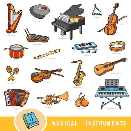 Zestaw kolorów instrumentów muzycznych, kolekcja elementów wektorowych z nazwami w języku angielskim. Słownik wizualny kreskówek dla dzieci