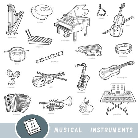 Black and white set of musical instruments, collection of vector items with names in English. Cartoon visual dictionary for kids