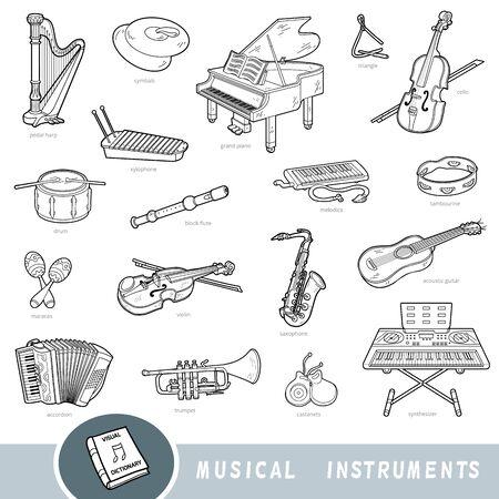 Czarno-biały zestaw instrumentów muzycznych, kolekcja elementów wektorowych z nazwami w języku angielskim. Słownik wizualny kreskówek dla dzieci