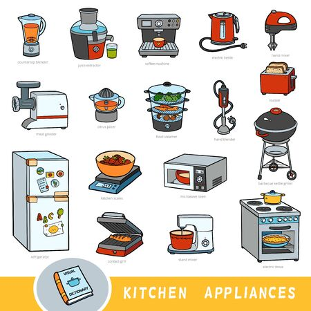 Color set of kitchen appliances, collection of vector items with names in English. Cartoon visual dictionary for kids Vector Illustration