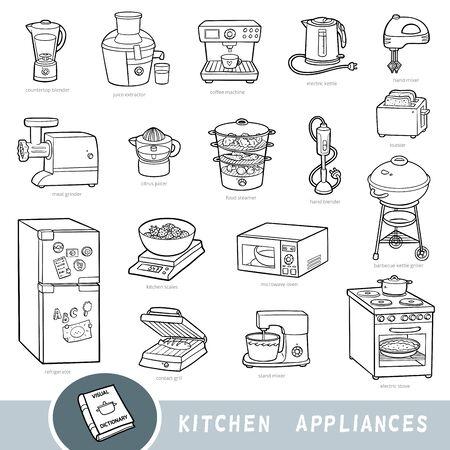 Conjunto de electrodomésticos de cocina en blanco y negro, colección de elementos vectoriales con nombres en inglés. Diccionario visual de dibujos animados para niños Ilustración de vector