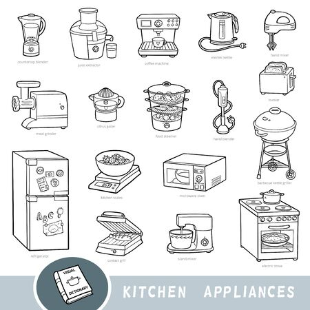 Black and white set of kitchen appliances, collection of vector items with names in English. Cartoon visual dictionary for kids