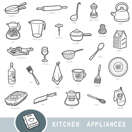 Black and white set of kitchenware, collection of vector items with names in English. Cartoon visual dictionary for kids Ilustracja
