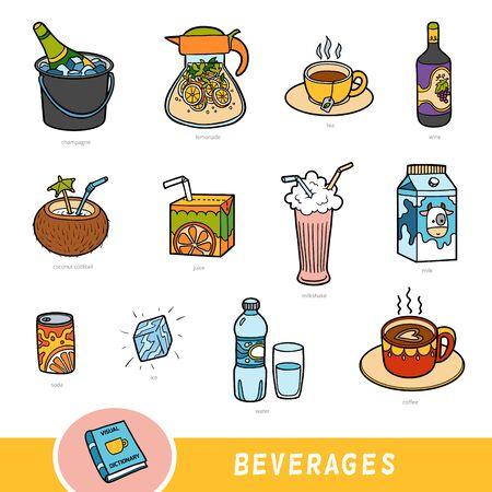 Set di bevande a colori, raccolta di elementi vettoriali con nomi in inglese. Dizionario visivo dei cartoni animati per bambini