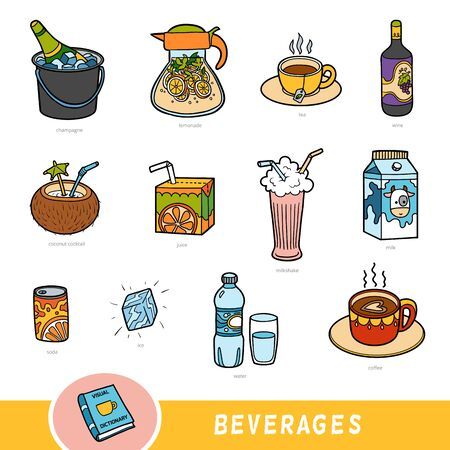 Zestaw kolorów napojów, kolekcja elementów wektorowych z nazwami w języku angielskim. Słownik wizualny kreskówek dla dzieci