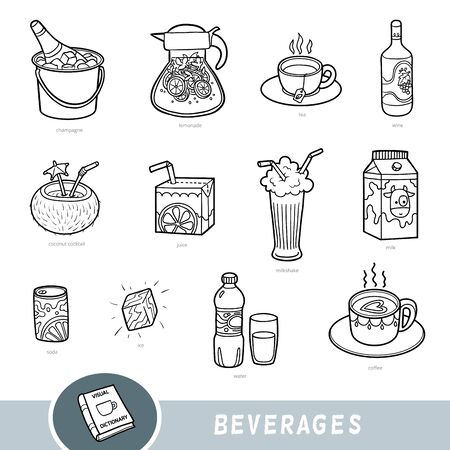 Black and white set of beverages, collection of vector items with names in English. Cartoon visual dictionary for kids  Ilustracja