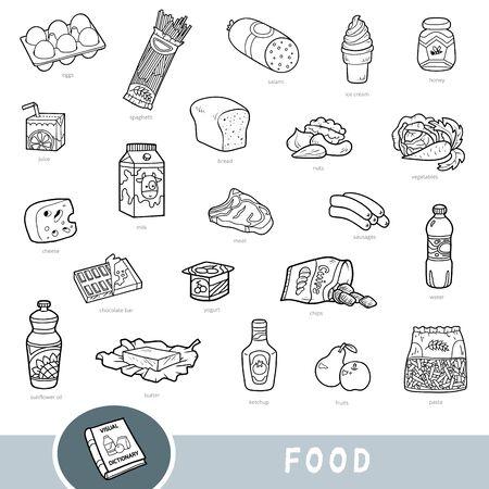 Schwarz-Weiß-Set von Lebensmitteln, Sammlung von Vektorartikeln mit Namen auf Englisch. Cartoon visuelles Wörterbuch für Kinder