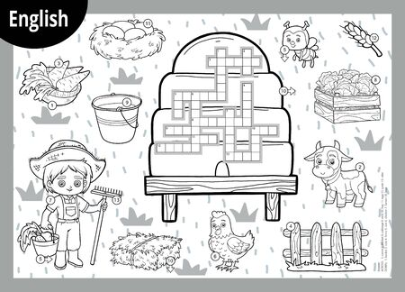 Vector black and white crossword in English, education game for children. Cartoon farm set