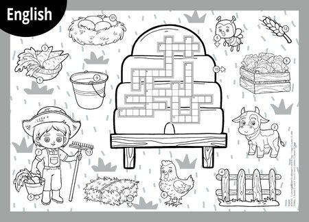 Vector black and white crossword in English, education game for children. Cartoon farm set Çizim