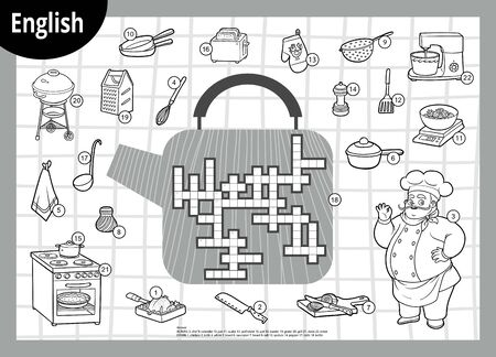 Vector black and white crossword in English, education game for children. Chef and set of kitchen items Çizim