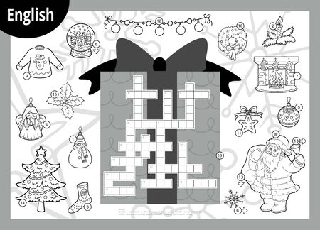 Vector black and white crossword in English, education game for children. Santa Claus and Christmas items