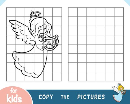 Copy the picture, education game for children, Angel with harp