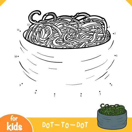 Numbers game, education dot to dot game for children, Tobiko sushi with seaweed salad