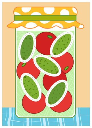 Trace the dotted lines in the shape of ovals. Cucumbers and tomatoes in jar. Education game for children. Worksheet for preschoolers Ilustração