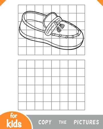 Copy the picture, education game for children, Moccasins