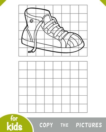 Copy the picture, education game for children, Sneakers Illustration