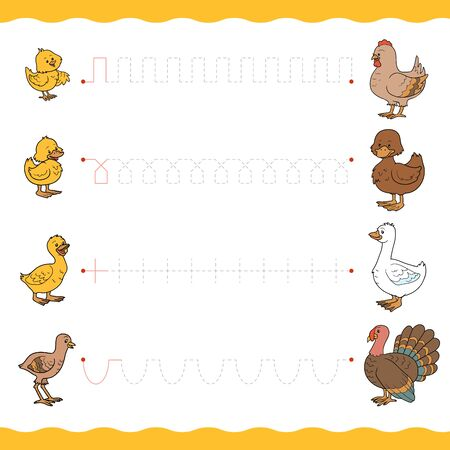 Trace the dotted lines from young birds to their moms. Connect the dots, education game for children. Worksheet for preschoolers