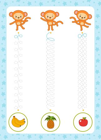 Trace the dotted lines from monkeys to fruits. Connect the dots, education game for children. Worksheet for preschoolers