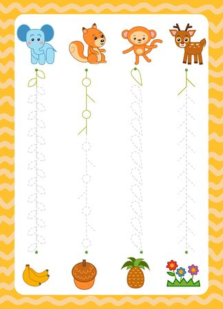 Trace the dotted lines from animals to food. Connect the dots, education game for children. Worksheet for preschoolers
