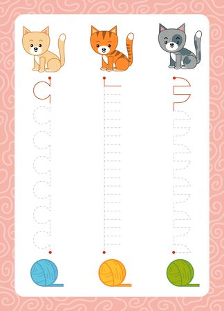Trace the dotted lines from cats to balls of yarn. Connect the dots, education game for children. Worksheet for preschoolers