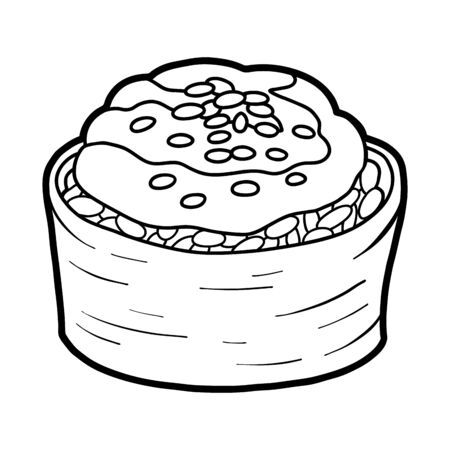 Coloring book for children, Baked sushi roll with cheese and sesame seeds