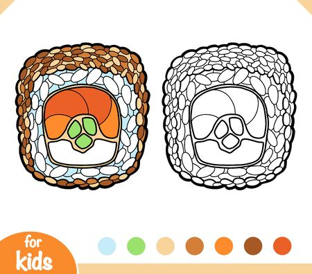 Coloring book for children, Sushi roll with sesame seeds and salmon