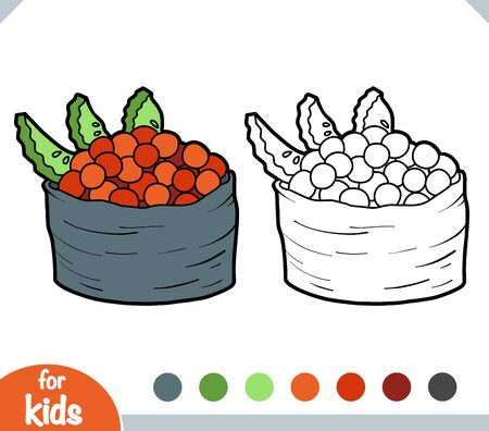 Coloring book for children, Tobiko sushi with salmon caviar Ilustracja