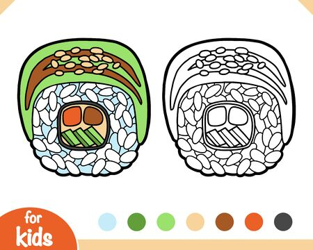 Coloring book for children, Dragon roll with tuna Ilustracja