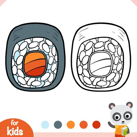 Coloring book for children, Salmon sushi roll