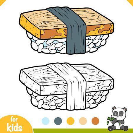Coloring book for children, Egg sushi