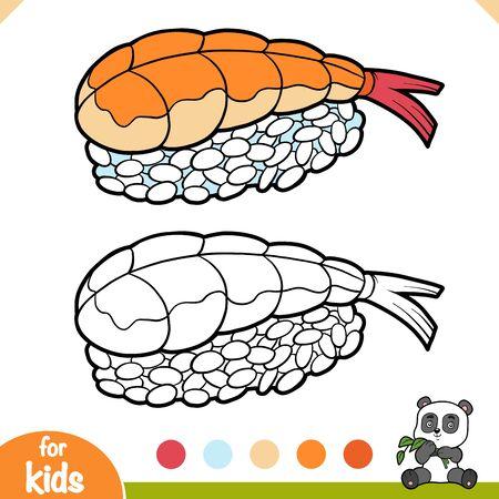 Coloring book for children, Shrimp sushi nigiri with rice  イラスト・ベクター素材