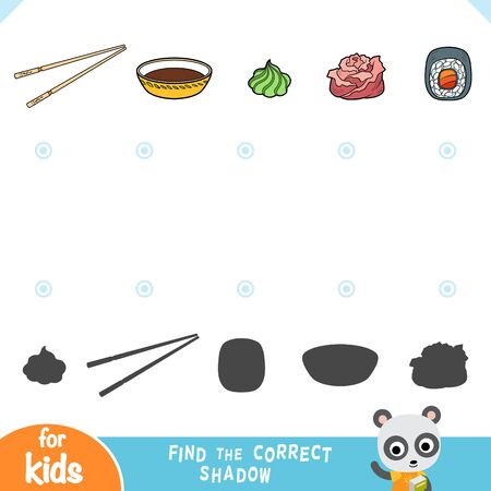 Find the correct shadow, education game for children. Set of wasabi, bamboo chopsticks, japanese pickled sushi ginger, soy sauce and sushi roll