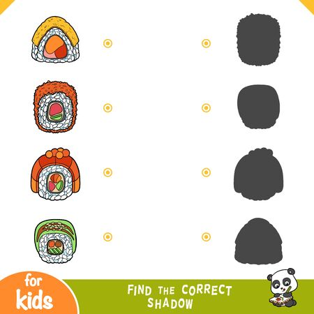 Find the correct shadow, education game for children. Set of sushi rolls