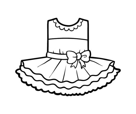 Coloring book for children, elegant dress with bow