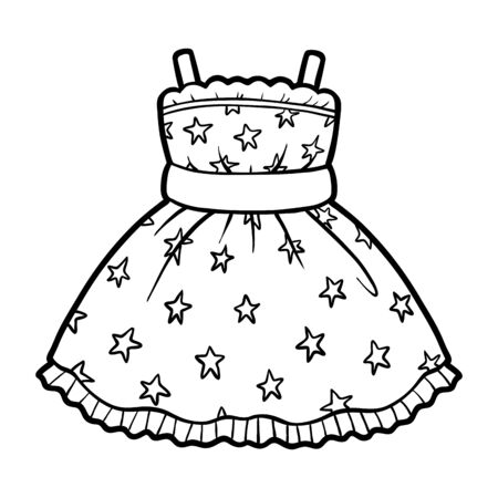 Coloring book for children, Dress with stars pattern