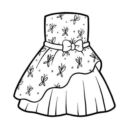 Coloring book for children, Dress with butterflies pattern Ilustracja