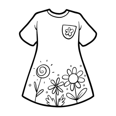 Coloring book for children, Dress with a flowers