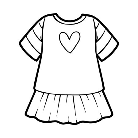 Coloring book for children, Dress with a heart Ilustracja