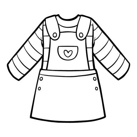 Coloring book for children, denim overalls dress  Ilustracja
