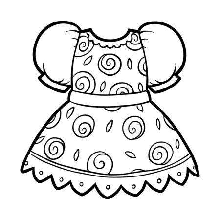 Coloring book for children, Dress with rose pattern