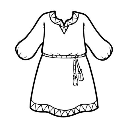 Coloring book for children, ethnic dress Ilustracja