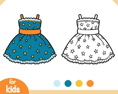 Coloring book for children, Dress with stars pattern Vector Illustration