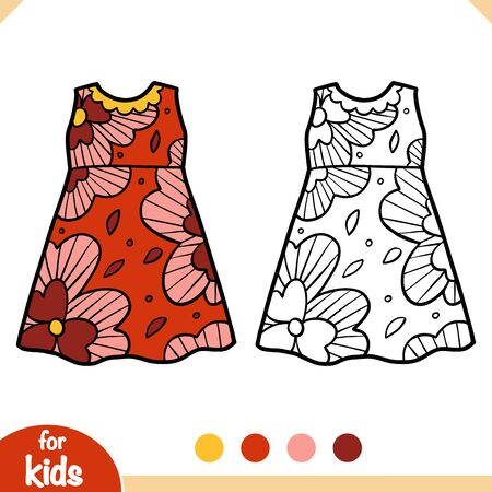 Coloring book for children, Dress with a flower pattern Ilustracja