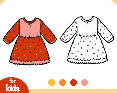 Coloring book for children, Dress with polka dots