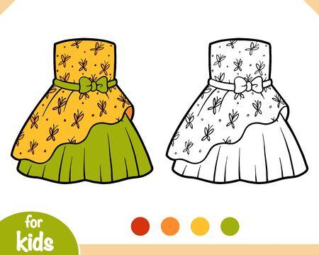 Livre de coloriage pour des enfants, robe avec le modèle de papillons Vecteurs