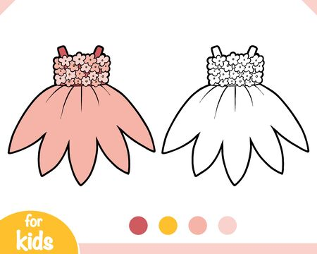 Coloring book for children, Dress with flowers Ilustracja